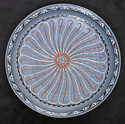 Blue-ground Dish with Floral and 'Cintamani' Designs