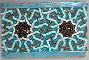 Tile Decorated with Entrelacs Pattern Based on Octagons