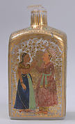 Case Bottle with an Amorous Couple and a Lady with a Deer