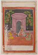 Hindu Saint with Two Disciples and Two Musicians on a Rooftop in the Evening