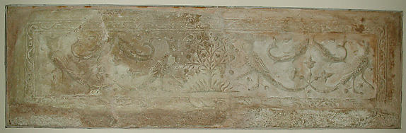 Carved Panel with Harpies, Fish and Trees