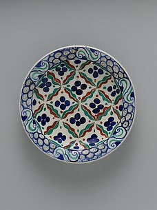 Dish with 'Cintamani' and Tiger-stripe Pattern