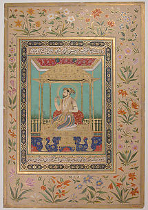 Portrait of Shah Jahan on the Peacock Throne
