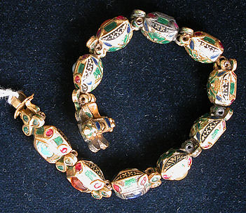 Nine-Gem (Navaratna) Talismanic Bracelet, One of a Pair
