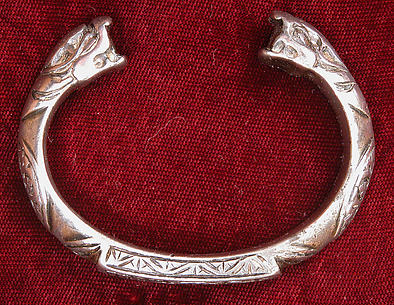 Pair of Bracelets with Snake-Head Endings and Arabic Inscription