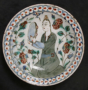 Plate Depicting a Woman Playing Tambourine