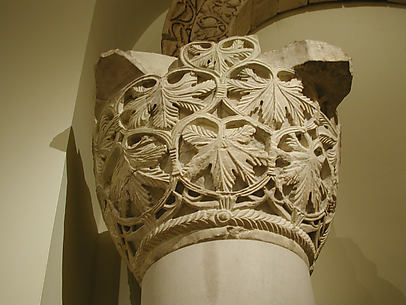 Capital with a Pattern of Grape Leaves and Vines