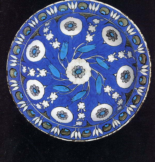 Blue-ground Dish with Floral Design