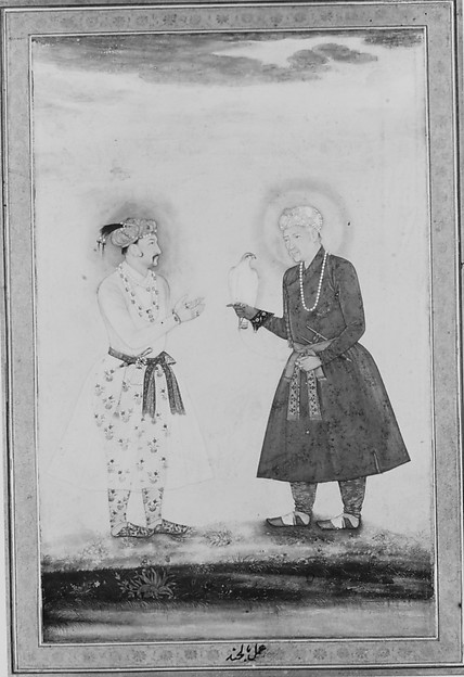 """Jahangir and his Father, Akbar"", Folio from the Shah Jahan Album"