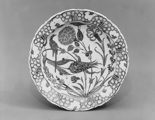 Dish Depicting Two Birds among Flowering Plants