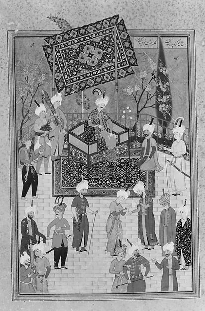 """""""Khusrau Seated on his Throne"""", Folio from a Khamsa (Quintet) of Nizami"""