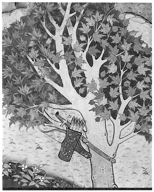 """Khusrau Catches Sight of Shirin Bathing"", Folio from a Khamsa (Quintet) of Nizami"