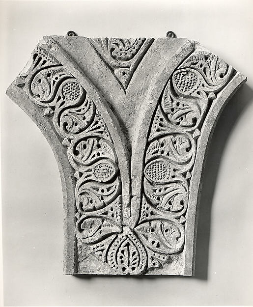 Carved Stucco Panel from Between Two Arches