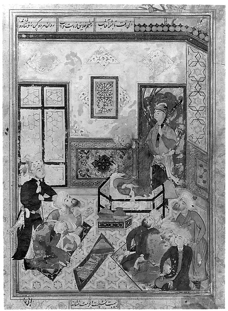 """Bahram Gur and the Indian Princess in the Dark Palace on Saturday"", Folio from a Haft Paikar (Seven Portraits) of the Khamsa (Quintet) of Nizami"