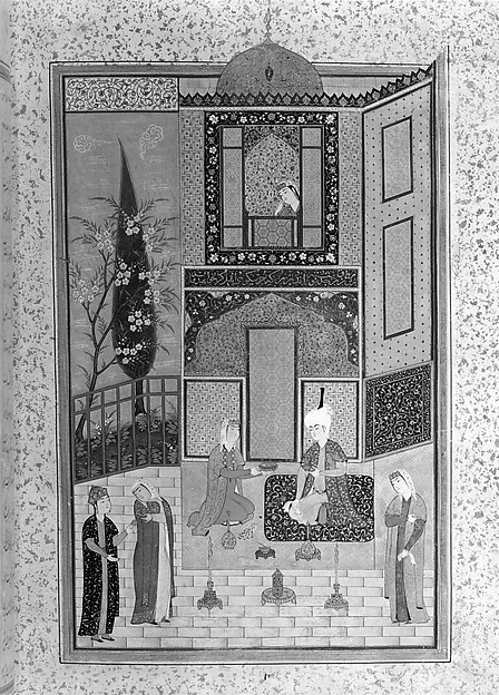 """Bahram Gur in the Green Palace on Monday"", Folio from a Khamsa (Quintet) of Nizami"