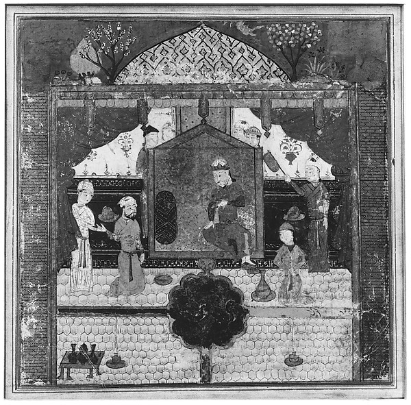 """Khusrau Parviz before his Father Hurmuzd (?)"", Folio from a Shahnama (Book of Kings)"