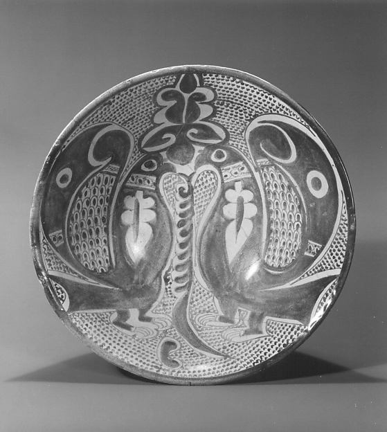 Bowl with Two Facing Peacocks