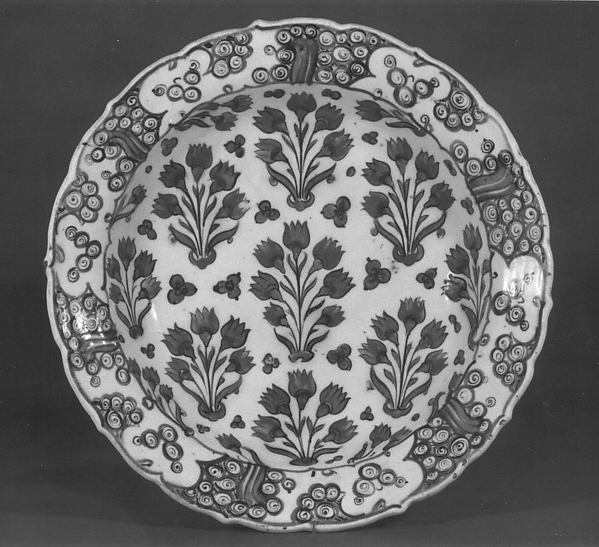 Dish with Pattern of Flowering Plants