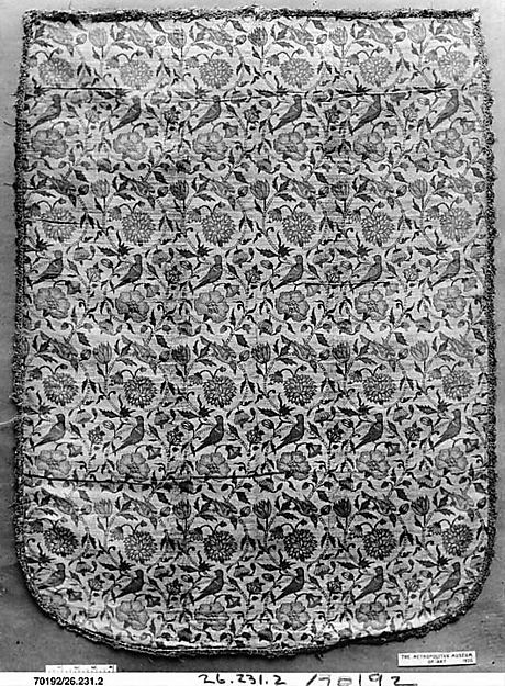 Textile Panel with Birds amid Flowering Vines