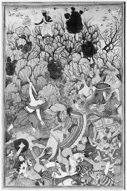 """Balarama and Krishna Fighting the Enemy"", Folio from a Harivamsa (The Legend of Hari (Krishna))"