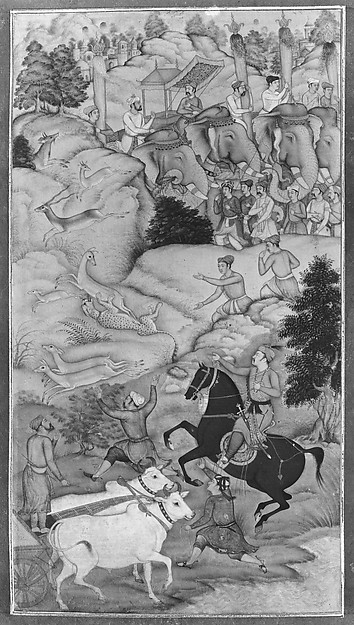 """Akbar Hunting with Cheetahs"", Folio from an Akbarnama"