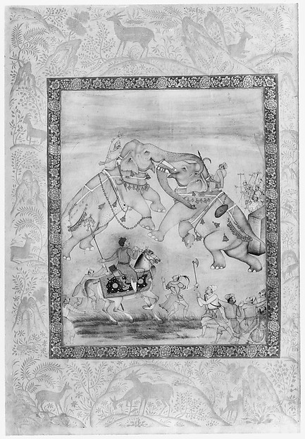 Jahangir Watching an Elephant Fight