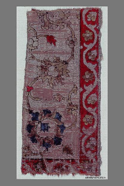 Velvet Fragment with Scrolling Floral Vine Design