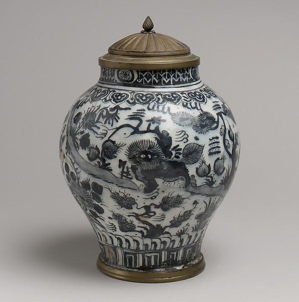 Jar with Lion and Landscape Elements