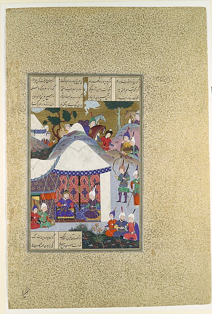 """Zal Questions Sam's Intentions Regarding the House of Mihrab"", Folio 81v from the Shahnama (Book of Kings) of Shah Tahmasp"