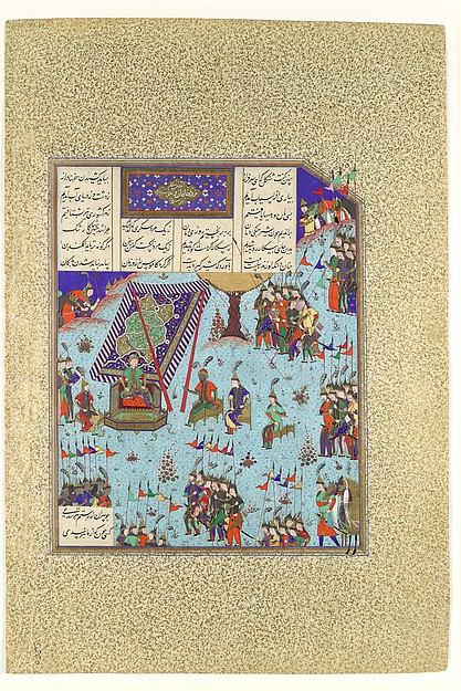 """Shangul Stirs the Khaqan's Council to War on Rustam"", Folio 276v from the Shahnama (Book of Kings) of Shah Tahmasp"
