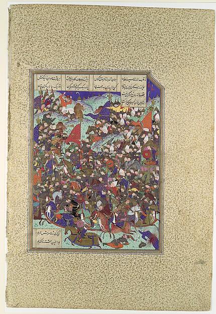 """Kai Khusrau Defeats the Army of Makran"", Folio 376v from the Shahnama (Book of Kings) of Shah Tahmasp"