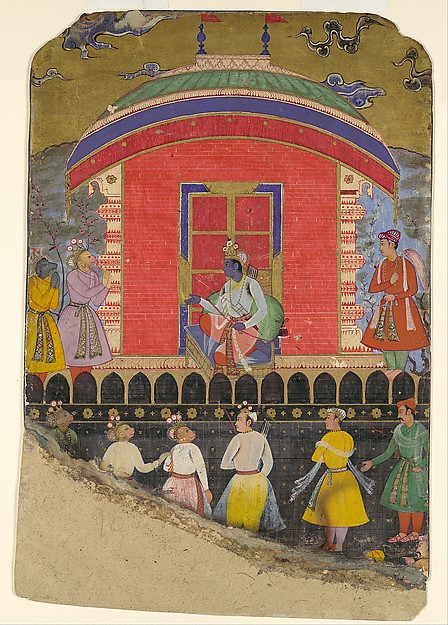 """Rama Receives Sugriva and Jambavat, the Monkey and Bear Kings"", Folio from a Ramayana"