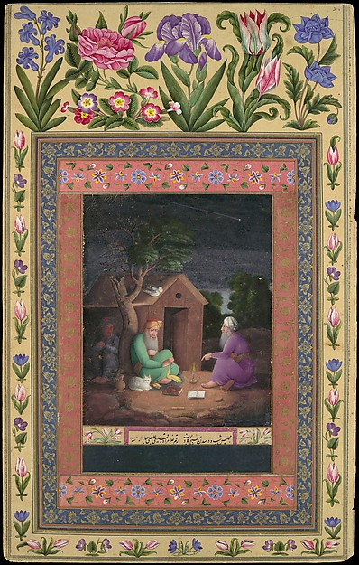 """Two Old Men in Discussion Outside a Hut"", Folio from the Davis Album"