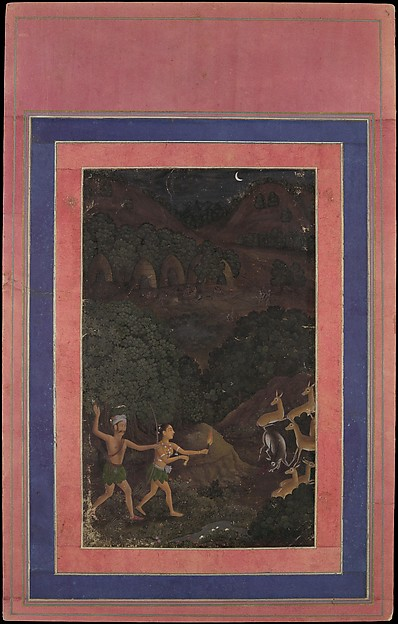 """Bhil Couple Hunting Deer at Night"", Folio from the Davis Album"