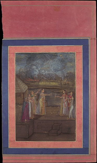 """Fireworks on the Night of Shab-i Barat Feast"", Folio from the Davis Album"