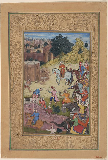 """A Bathhouse Keeper is Consumed by Passion for his Beloved"", Folio from a Khamsa (Quintet) of Amir Khusrau Dihlavi"