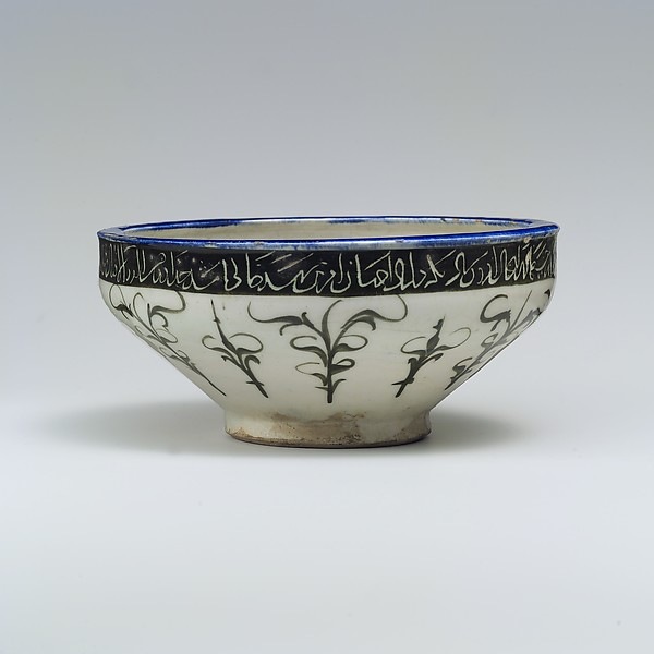 Bowl, stoneware with black, white and blue underglaze painting