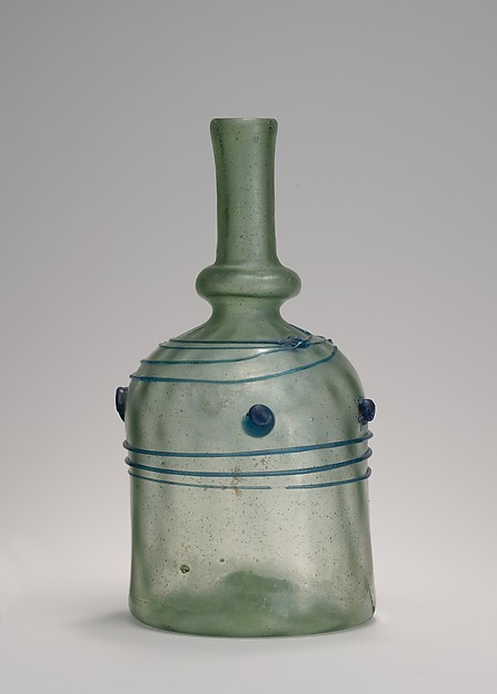 Bottle with Blue Trails and Blobs