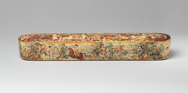 Pen Box (Qalamdan) Depicting Shah Isma&#39;il in a Battle against the Uzbeks