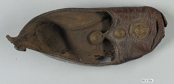 Leather Shoe with Gilded Medallions