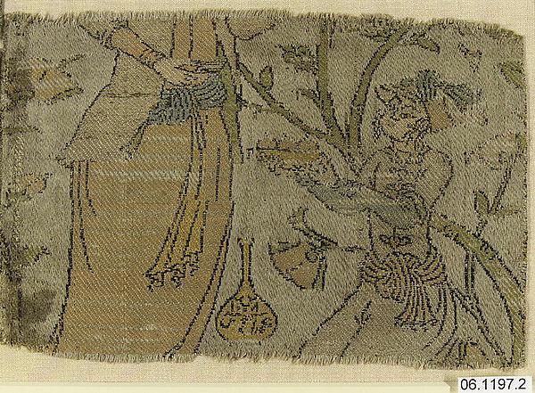 Textile Fragment Depicting Figures in a Landscape