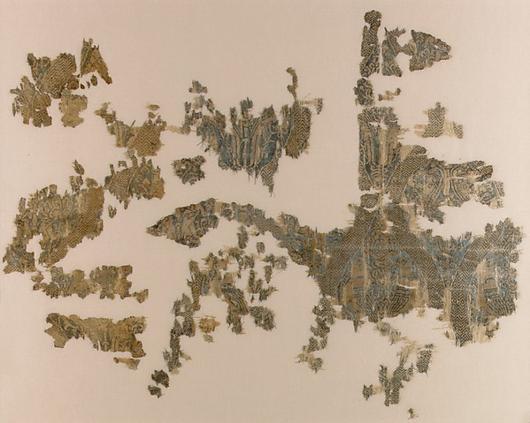 Textile Fragment with Addorsed Parrots and Griffins
