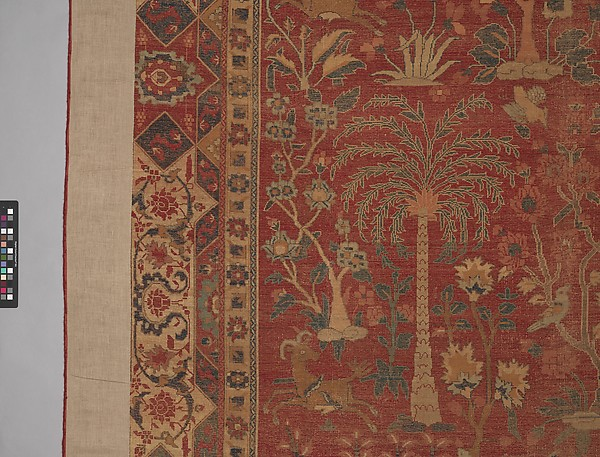 Carpet with Palm Trees, Ibexes, and Birds