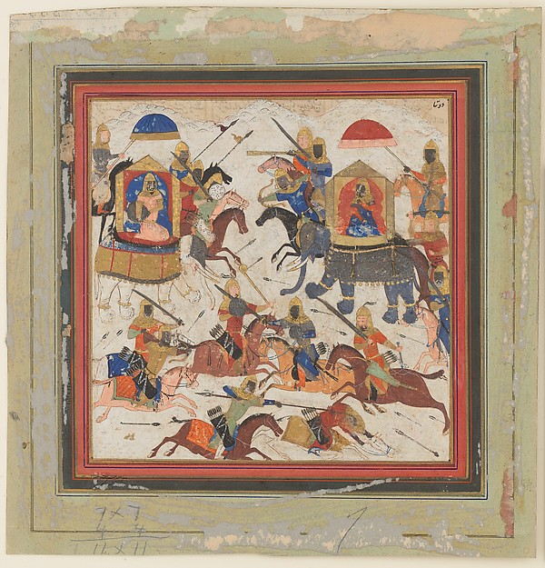 """Gav and Talhand in Battle"", Folio from a Shahnama (Book of Kings)"