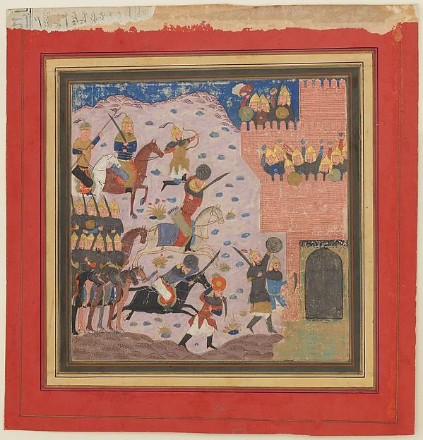 """Kai Khusrau, Gudarz and Giv Capturing the Demon's Fortress, Bahman (?)"", Folio from a Shahnama (Book of Kings)"