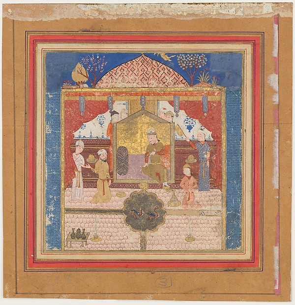 """Khusrau Parviz before his Father Hurmuzd (?)"", Folio from a Shahnama (Book of Kings)"
