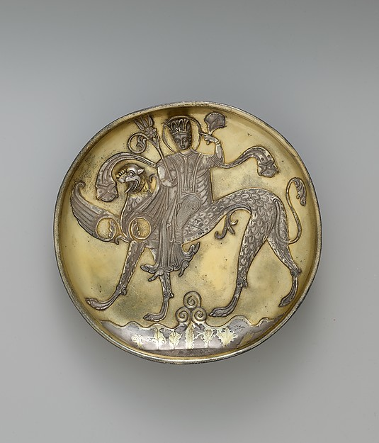 Plate Depicting a Female Figure Riding a Fantastic Winged Beast