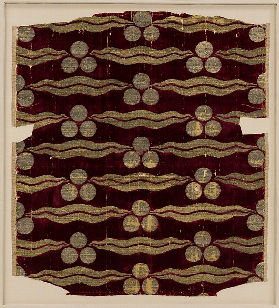 Fragmentary Silk Velvet with Repeating Tiger-stripe and 'Chintamani' Design