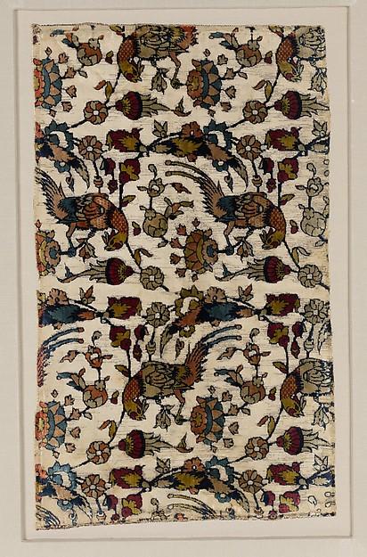 Velvet Fragment with Bird and Flower Design