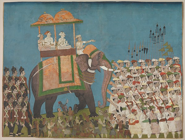 Three Noblemen in Procession on an Elephant